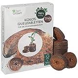 OwnGrown Kokos Quelltabletten mit Nährstoffen - 36 Stück, Kokoserde gepresst zur Pflanzen Anzucht ohne Pikieren, torffrei - Anzucht Erde Kokos