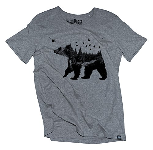 Ma2ca® Bear Wood Nature T-Shirt Herren T-Shirt STE Ben-heathergrey-m