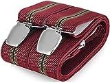 Hosenträger für Herren breit extra starken 3.5 cm mit 3er Clips Y Form lange für Männer und Damen Elegant Hose alle Farbe (Rot 4)