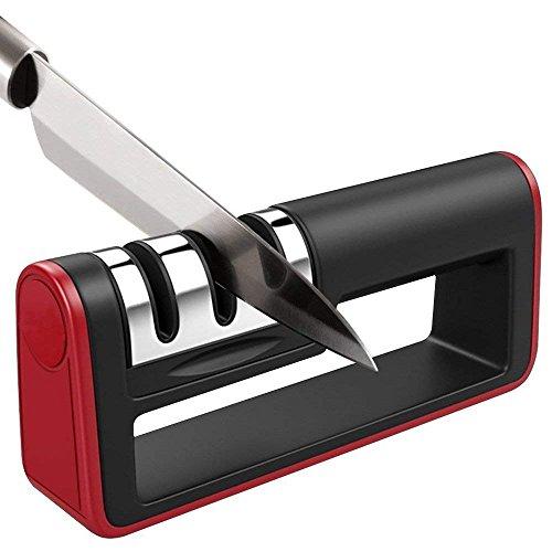 BYETOO Küche Messerschärfer, manuell dreistufig Messer schärfen Werkzeug, mit Rutschfeste BAS, geramic Rod, Diamant Rod, Tungsten Stahl Klinge, Wiederherstellung und Polieren Klingen, sicher und einfach zu verwenden, für gerade Blade Küche Messer