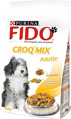 Fido Croq Mix Croquettes pour chien adulte Poulet, Céréales & Légumes 15 kg