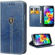 Galaxy S5 Funda con tapa libro piel y TPU cartera cover Funda de cuero carcasa bumper protectores S5 estuches soporte flip Case para Samsung Galaxy S5 / Neo azul