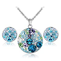 JiangXin Shades of Blue Multicolor Austrian Crystal Jewellery Set,Round Brilliant Earring Studs Pendant Chain Necklace for Women Girl