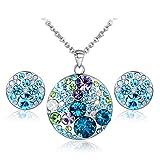 JiangXin Chansons Elaine Shades of Jewelry Set blu austriaco multicolore di cristallo made with Swarovski Elements