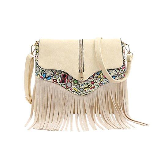 BZLine® Frauen Fringe Quaste Tasche Fashion Umhängetasche, 36cm *11cm *24cm Weiß