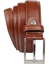 LINDENMANN Mens leather belt / Mens belt, leather belt curved XL, 3 Colors, middle cognac / grey / white