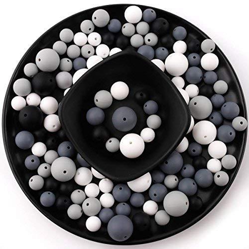 baby tete Cuentas de Dentición de Silicona Redondo Masticable (12-20mm) 200pcs Pulsera de Collar DIY Componentes de la Joyería de Cadena de Chupete de Bebé Botella Sin BPA-En Blanco y Negro