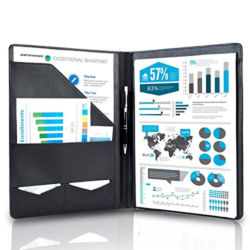 Arrace Schreibmappe A4 aus hochwertigem Kunstleder in schwarz - perfekt als Aktenmappe, Arbeitsmappe, Konferenzmappe A4, Dokumentenmappe DIN A4