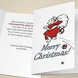 100er Set Schöne Unternehmen Weihnachtskarten mit fliegendem Eisbär Santa/ Weihnachtsmann, mit ihrem Innentext (Var10) drucken lassen, als Weihnachtsgrüße geschäftlich / Neujahrskarte / Firmen Weihnachtskarte für Kunden, Geschäftspartner, Mitarbeiter: Merry Christmas