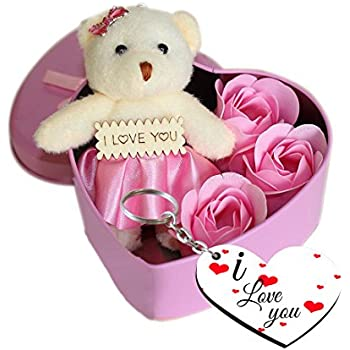 Sky Trends Unique Valentine day gift for Wife | Special Valentine's day gift for Lover | Valentine's day gift for Lover | Valentine day gift for Wife (Heart shaped Box with Teddy and Roses and Wooden Keychain) st-01