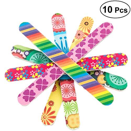 Frcolor 10pcs limes à ongles professionnelles double face colorées Emery Board tampons à ongles blocs de ponçage outils de pédicure ongles (motif aléatoire)