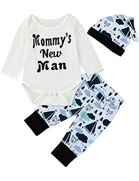 Omiky® Neugeborene Säuglingsbaby-Buchstabe-Spielanzug-Oberseiten + Karikatur-Hosen-Hut-Ausstattungs-Kleidung-Satz