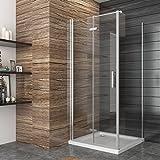 Duschkabine Falttür Duschabtrennung 90x80cm Eckeisntieg Duschtür Eckdusche Duschwand aus Sicherheitsglas