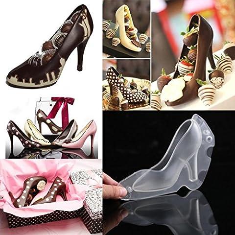 Zjene DIY 3d Chaussures à talons hauts Moule à chocolat Candy Cake Moule à gelée Décoration de mariage 14x10x13cm claire
