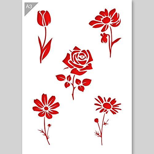 Tulpe Rose Blumen Schablone - Plastik - A3 42 x 29,7 cm - Tulpenhöhe 14,5 cm - wiederverwendbare kinderfreundliche Schablone für Malerei, Handwerk, Wände und Möbel