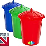 Set of 3 - CrazyGadget® 80 Litre 80L Extra Large Colour Plastic Recycle Dustbin Kitchen House Garden Storage Unit Bin with Clip Locking Lid - Red, Green, Blue