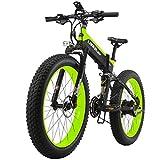 LANKELEISI neue All-Terrain Leistungsstarke Elektro-Bike 26 Zoll 4.0 Fett 500W Motor 48V10AH Ebike 27 Speed Snow MTB elektrische Fahrrad falten (Schwarz Grün)