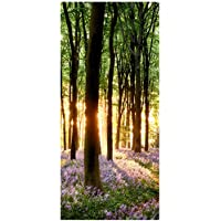 Wallario Selbstklebende Premium Türtapete Sonnenuntergang Fluss grün Wald Baum
