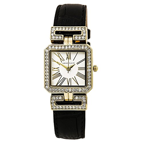 Anne Klein Women s AK 2396WTBK Swarovski Crystal Accented Black Croco-Grain  Leather Strap Watch 393aed19b7