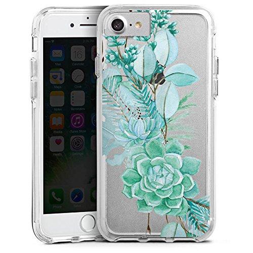 Apple iPhone 7 Plus Bumper Hülle Bumper Case Glitzer Hülle Blumen ohne Hintergrund Sommer Bumper Case transparent