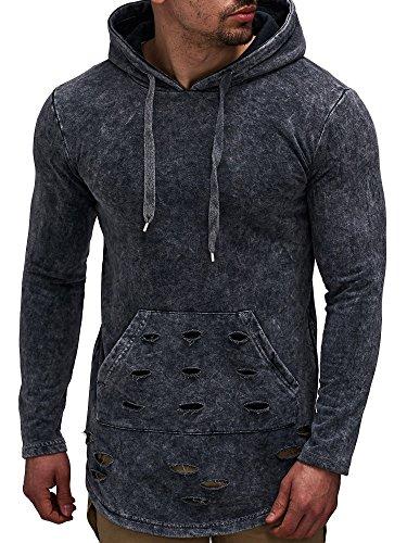 LEIF NELSON Herren Oversize Hoodie mit Kapuze Sweatshirt Pullover Kapuzenpullover LN06256 S-XXL; Größe S, Anthrazit  