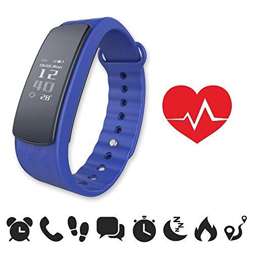 endubro i3HR Fitness Armband mit Herzfrequenz - Monitor für Android Smartphone und iPhone, Schrittzähler, Push-Message und Anrufer - ID Benachrichtigung (Blau)