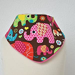 Baby Lätzchen Sabberlatz Halstuch Elefanten pink grün 0-3 Jahre/Mädchen/Fleece/warm
