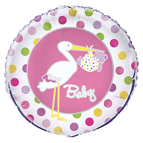 Unique Party Supplies 45,7 cm Folie Storch Mädchen Baby Dusche Helium Ballon