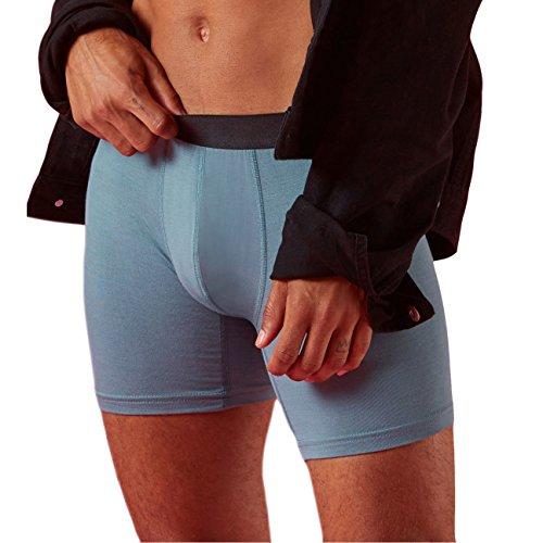 AIWENSI Herren Boxershorts, 3er Pack Men's Underwear Modal Baumwolle Herren Unterhosen, Herren Retroshorts Blau