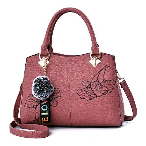 Taschen Großhandel Stickerei Handtasche Schulter koreanische Version der einfachen klassischen Handtaschen pink 29x22x12cm