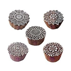 Beliebt Designs Runden und Mandala Blöcke Drucken Holz Stempel (Set von 5)