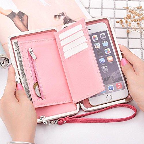 Portafoglio Donna, Tpulling Portafoglio multifunzionale della borsa della borsa del cuoio delle donne con il supporto del raccoglitore (Gray) Hot Pink