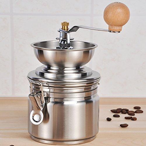 Edelstahl Kaffemühle Espressomühle mit Keramik Kegel-Mahlwerk Ø10 x H21cm Mahlgrad einstellbar