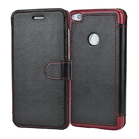 Mulbess Huawei P8 Lite (2017) Hülle Schwarz,Handyhülle Huawei P8 Lite (2017) Ledertasche Schutzhülle im Kartenfach [Lederhülle Tasche