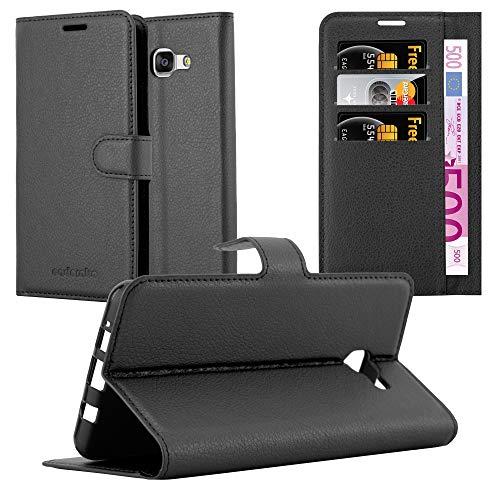 Preisvergleich Produktbild Cadorabo Hülle für Samsung Galaxy A7 2016 (6) - Hülle in Phantom SCHWARZ – Handyhülle mit Kartenfach und Standfunktion - Case Cover Schutzhülle Etui Tasche Book Klapp Style