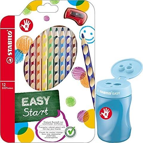 STABILO EASY Dosenspitzer 3 in1 für Rechtshänder / Kombi-Set (blau + 12 Dreikant-Buntstifte)