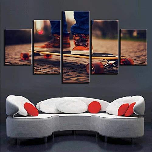 axqisqx Leinwandbilder Modulare Poster Wandkunst 5 Stücke Skateboard Sport Malerei Rahmen Kunstwerke Hd Druck Für Wohnzimmer Dekor