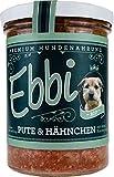 Wuff & Mau Bio Hundefutter mit Pute, Hähnchen, Apfel, Karotte und Reis Inhalt: 400g / Ebbi Hundenahrung im wiederverschließbarem Glas (4 x 400g)