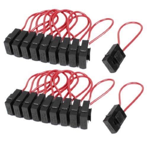 Deal Mux 30 Amp fil In-Line Bloc Porte Fusible pour la voiture/bateau/camion, noir avec rouge, lot de 20