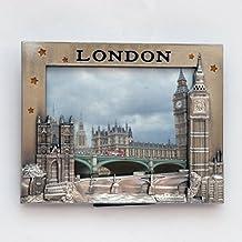 I Love London photo Frame–Cornice portafoto in metallo–London souvenir photo Frame–London Icons metal photo Frame–Big Ben, London Bridge, London Bus & Telephone Booth cornice di