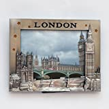 I love London Foto Rahmen – Metall-Bilderrahmen – London Souvenir Bilderrahmen – London Icons Metall-Bilderrahmen – Big Ben, London Bridge, London Bus und Telefonzelle Fotorahmen