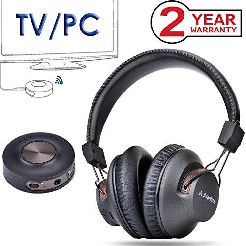 Avantree Cuffie Senza Fili per TV con Bluetooth Trasmettitore, 3.5mm & RCA (NESSUN OTTICO) Audio USB, Plug & Play, Nessun Ritardo sul labiale, LUNGA DISTANZA, 40 ore di Autonomia, PC / Video - HT3189