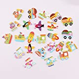 iDream® Colourful Transport Style Wooden Button for Sewing Scrapbook DIY (Pack of 30)