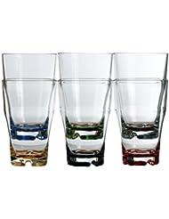 Marine Business Party - Vasos de refresco, 6 unidades, policarbonato, transparentes, con base de colores
