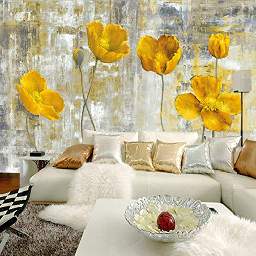 Tapete,EuropÄIschen Stil Vintage Gelbe Blume Hintergrund Wand 3D Wandbild Tapete Hotel Galerie Esszimmer Kunst Tapete Papel De Parede,400 * 280cm - Platten Papier Hellen Die Gelben