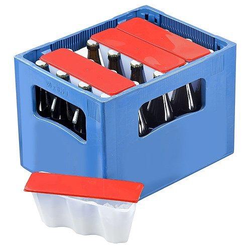 elasto form 4er Set Getränkekühler Ice2go Bierkastenkühler Kühlung für Flaschen 0,5l - Einmalige Befüllung und Immerwieder Verwendbar (Rot)