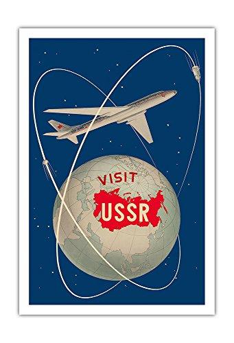 Pacifica Island Art - Besuchen Sie die U.S.S.R. - Sowjetischen Sputnik-Satelliten - Antonov Flugzeug - Retro Weltreise Plakat von Anatoliy Antonchenko c.1958 - Kunstdruck 76 x 112 cm -