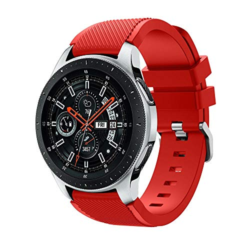 SongNi for Samsung Galaxy Watch (46mm) Straps Cinturinos Soft Silicone Sport Replacement Strap Cinturino for for Samsung Galaxy Watch (46mm) SmartWatch-Red