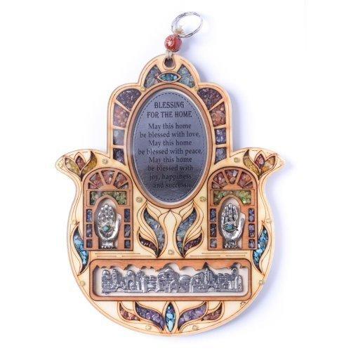 Wanddeko, Wandbehang aus Holz mit Halbedelstein, Hamsa-Form, Motiv 'Jerusalem/Böses Auge / Hand der Fatima mit Text für Heimsegnung (Home Blessing - Englisch)' Hand Form