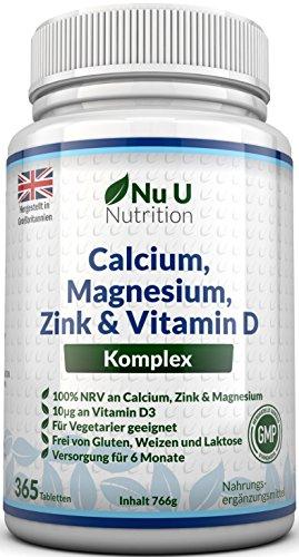 Calcium, Magnesium, Zink & Vitamin D Ergänzungsmittel | 365 Vegetarische Tabletten | Versorgung für 6 Monate des Nu U Osteo Ergänzungsmittel -